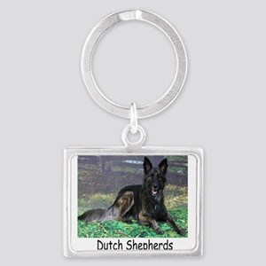 Long Hair Dutch Shepherd Landscape Keychain